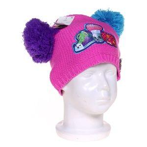 New SHOPKINS Pink Knit Pompom Beanie Hat NWT